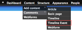 Create a new timeline event