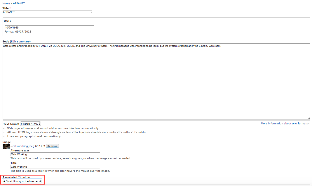 Fill out fields in the newly created timeline event