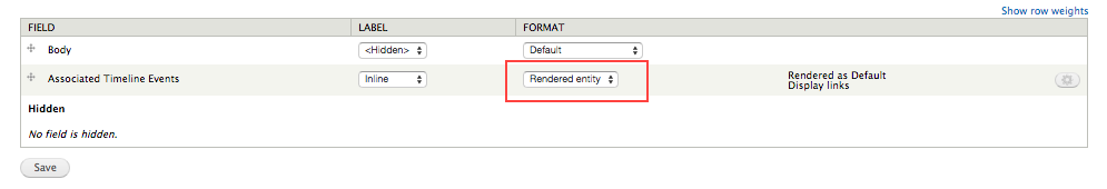 Display all fields with rendered entity