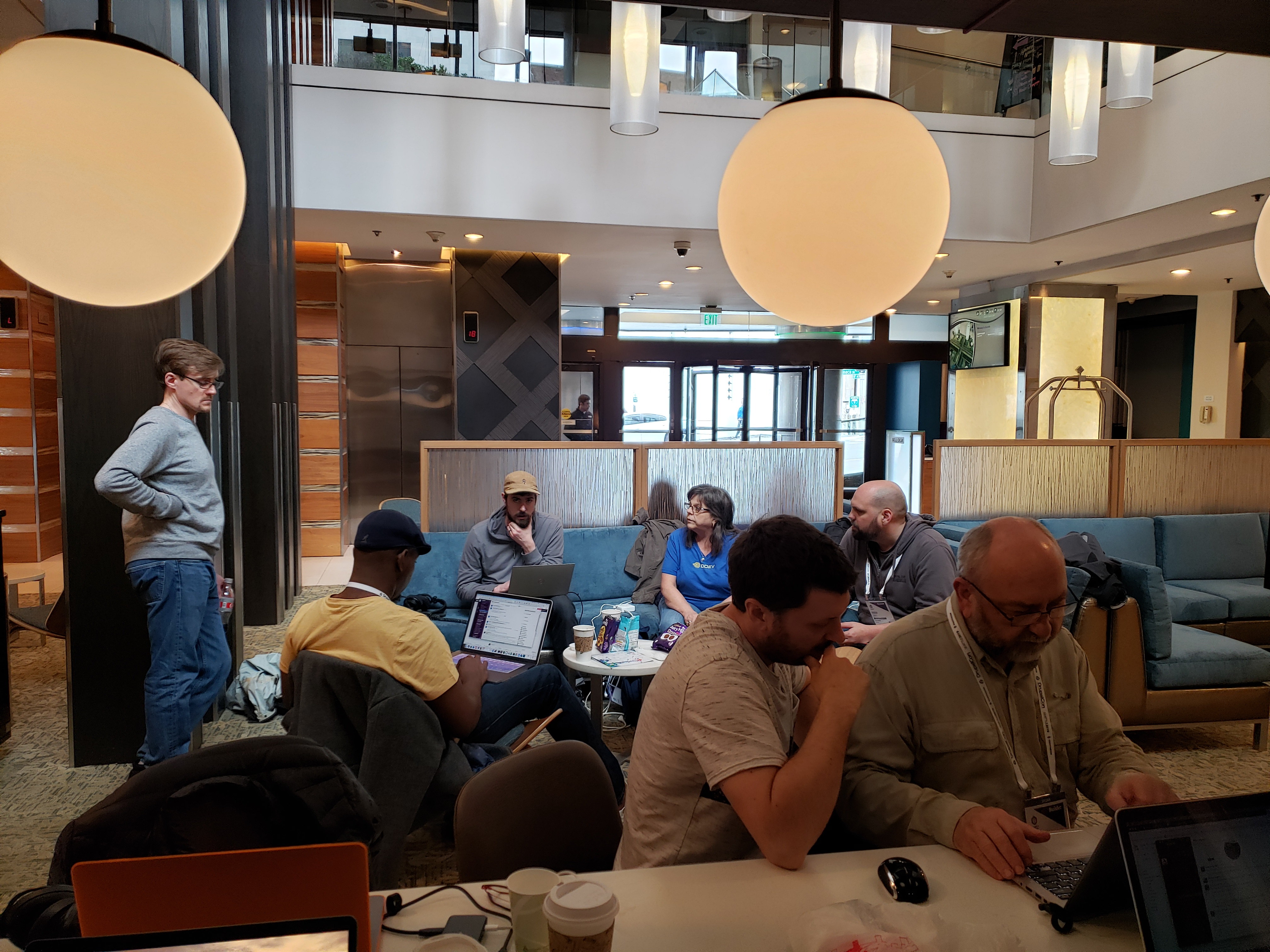 Hook 42 team takes over hotel lobby to work on new D8 website