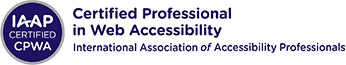 IAAP CPWA small circular badge and horizontal name logo for International Association of Accessibility Professionals (IAAP) Certified Professional in Web Accessibility (CPWA) credential. To the left is a dark blue circle with three lines of centered white text that read: IAAP Certified CPWA. There is a smaller silver circle that surrounds the dark blue inner circle that designates the CPWA credential color scheme. To the right, three lines of dark blue text. Top text reads Certified Professional, second line reads in Web Accessibility, third line reads International Association of Accessibility Professionals.