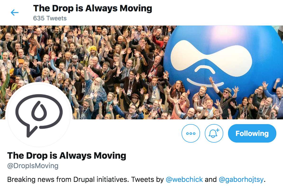 Twitter account @DropIsMoving maintained by @webchick and @gaborhojtsy at twitter.com/dropismoving