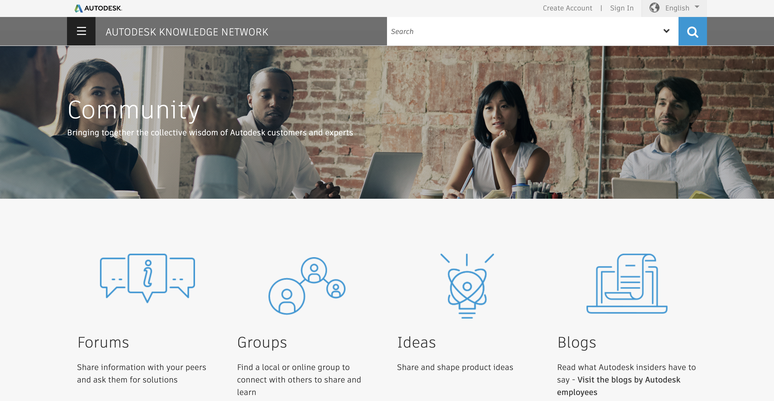 landing page preview of autodesk knowledge community portal