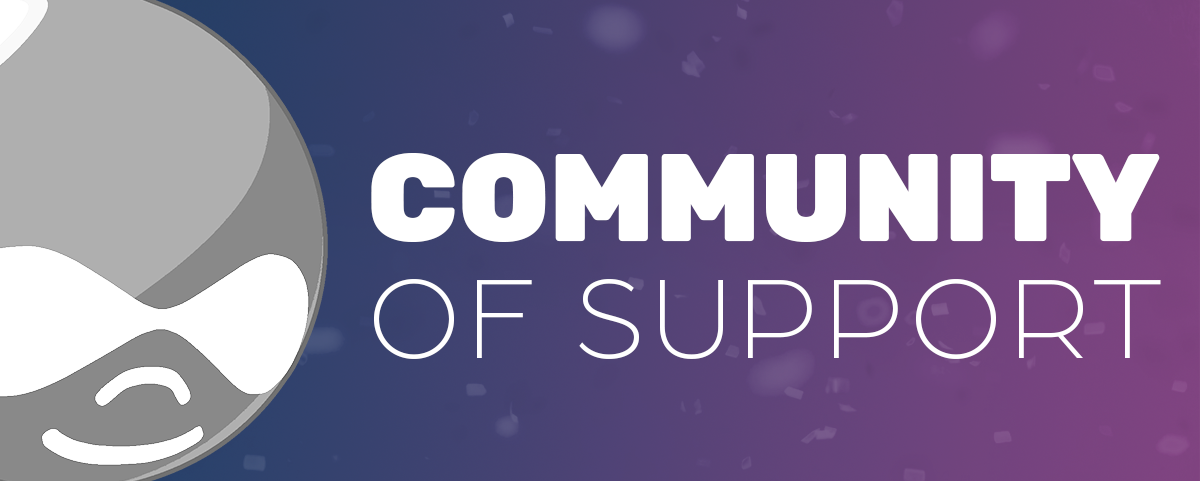 graphic with drupal logo next to phrase community of support