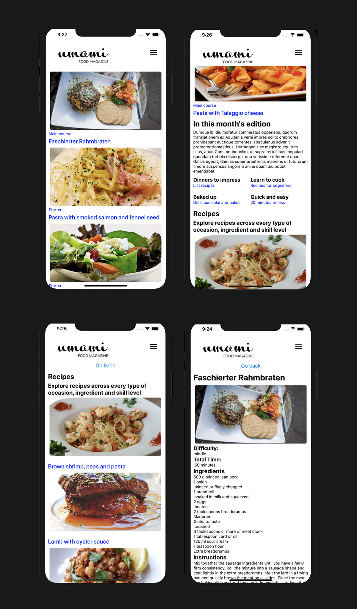 Four mobile screens displaying umami recipe and home page built with react