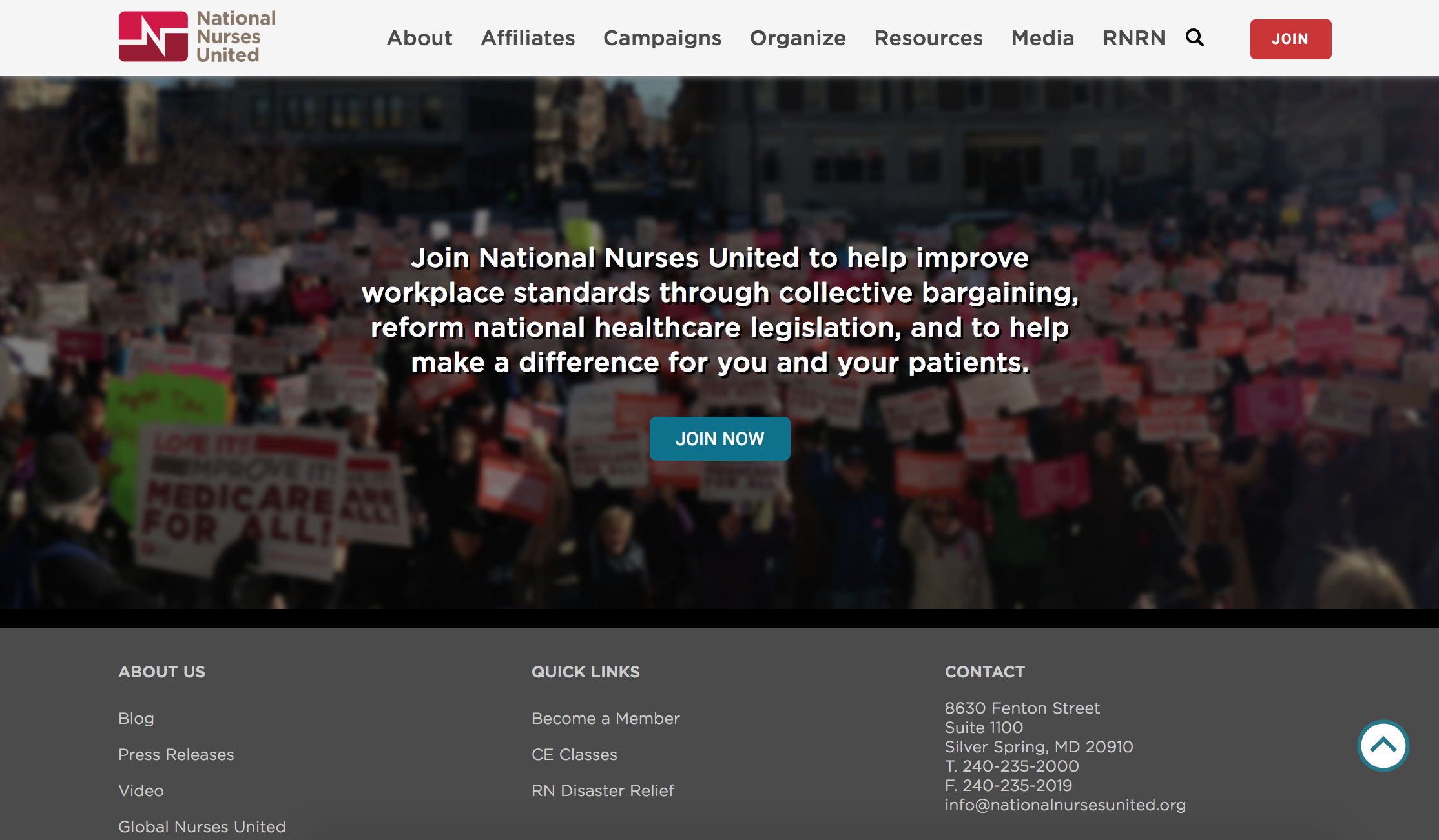 footer design of the nnu homepage with a prominent join now call to action item