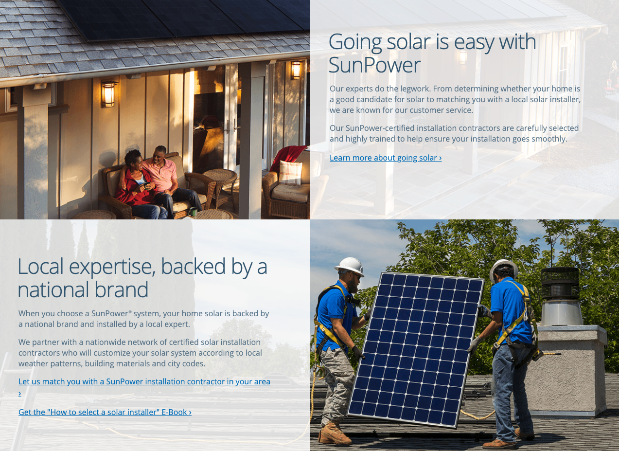 responsive component layout of sunpower landing page template