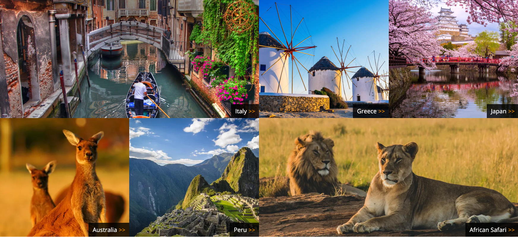 Responsive image grid highlighting areas of travel on Zicasso's homepage