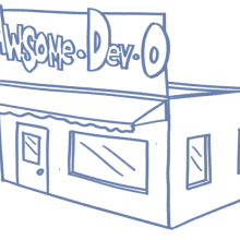 Drawing of a storefront