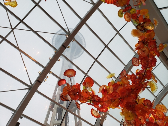 View of space needle from inside chihuly garden