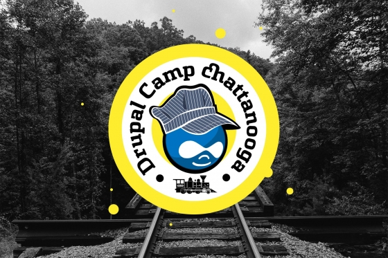 Drupal Camp Chattanooga logo overlaying a Tennessee forest with train tracks
