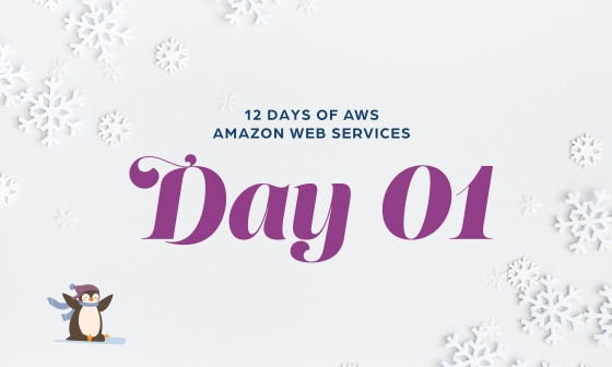 12 Days of AWS Day 1 written around snowflakes with a penguin sledding