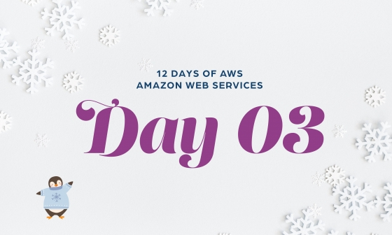 12 Days of AWS Day 3 written around snowflakes with a penguin wearing a winter sweater