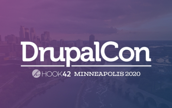 DrupalCon and Hook 42 logos overlooking an aerial view of minneapolis, mn