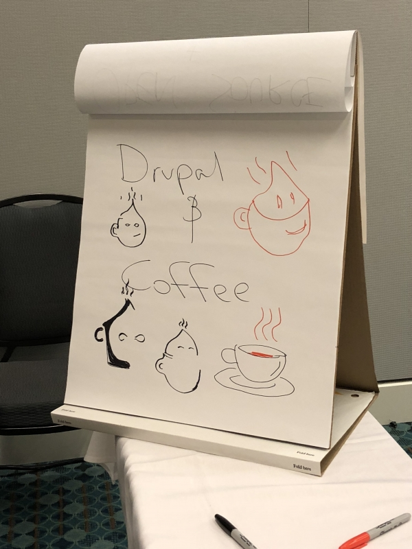 DrupalCon Nashville Coffee Birds of a Feather drawing pad with drupal drops and cups of coffee