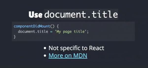 title code for React JS