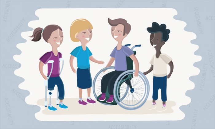 Illustrated group of diverse disabled persons chatting