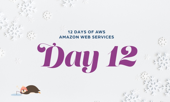 12 Days of AWS Day 12 written around snowflakes with a penguin ice fishing