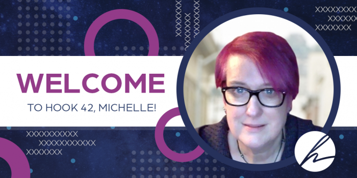 the phrase welcome michelle next to her headshot with hook 42 logo