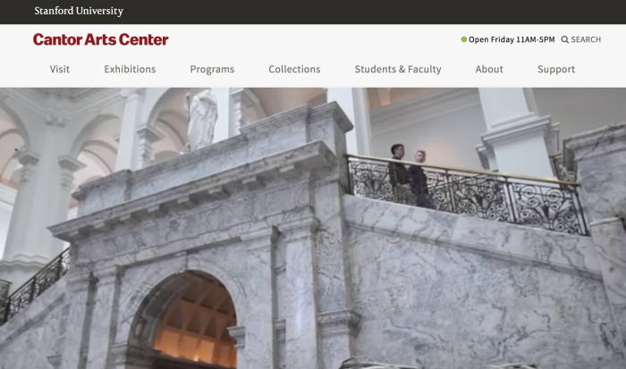stanford cantor arts center webstite screenshot