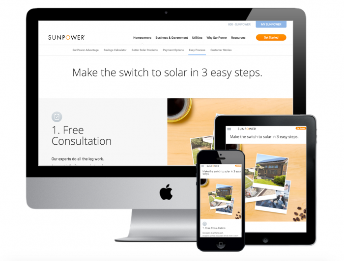 sunpower homepage shown on desktop tablet and mobile device
