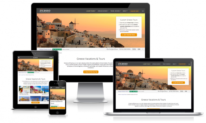 zicasso responsive greece tours screenshot