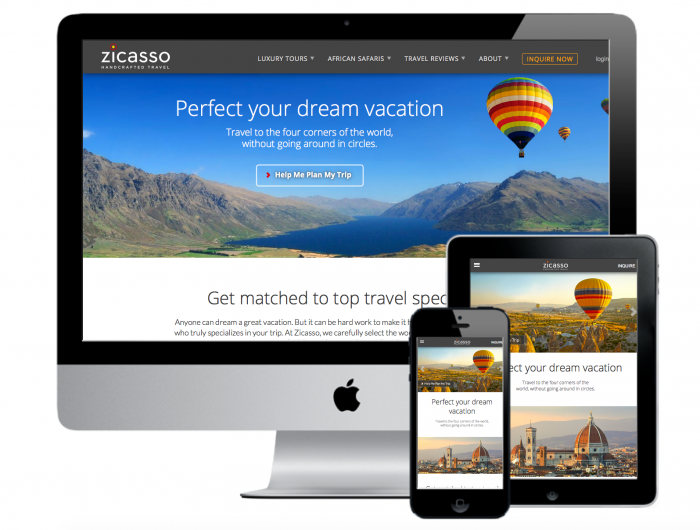 zicasso home page shown on desktop mobile and tablet devices